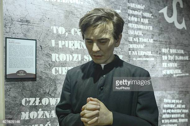 A wax figure of Father Jerzy Popieluszko a Polish Roman Catholic priest who became associated with the opposition Solidarity trade union in communist...