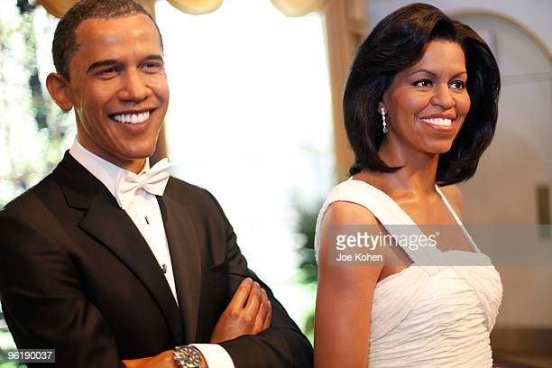 A wax figure of First Lady Michelle Obama unveiled joins wax figure of President Barack Obama a part of Black History Month scavenger hunt at Madame...