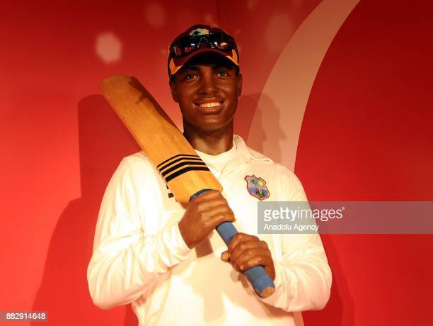A wax figure of former international cricket player Brian Lara is seen during the press preview of the Madame Tussauds Wax Museum in New Delhi India...