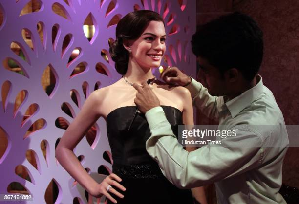 A wax figure of Hollywood actor Anne Hathaway displayed at Madame Tussauds Wax Museum at Connaught Place on October 24 2017 in New Delhi Located in...