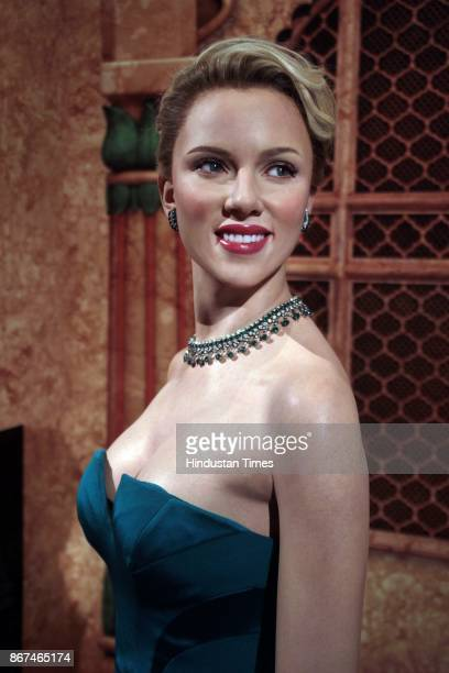 A wax figure of Hollywood actor Scarlett Johansson displayed at Madame Tussauds Wax Museum at Connaught Place on October 24 2017 in New Delhi Located...