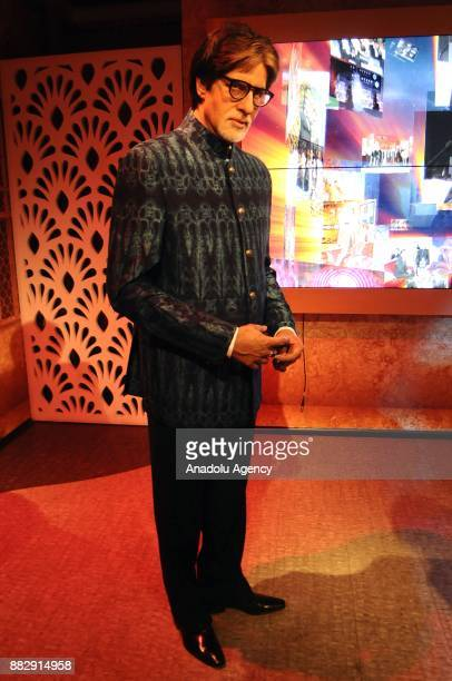 A wax figure of Indian Bollywood actor Amitabh Bachchan is seen during the press preview of the Madame Tussauds Wax Museum in New Delhi India on...