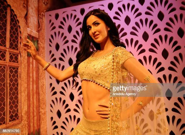 A wax figure of Indian Bollywood actor Katrina Kaif is seen during the press preview of the Madame Tussauds Wax Museum in New Delhi India on November...