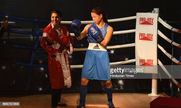 Wax figure of Indian boxer Mary Kom displayed at Madame Tussauds Museum situated in Regal Cinema building during its Press preview on October 24 2017...