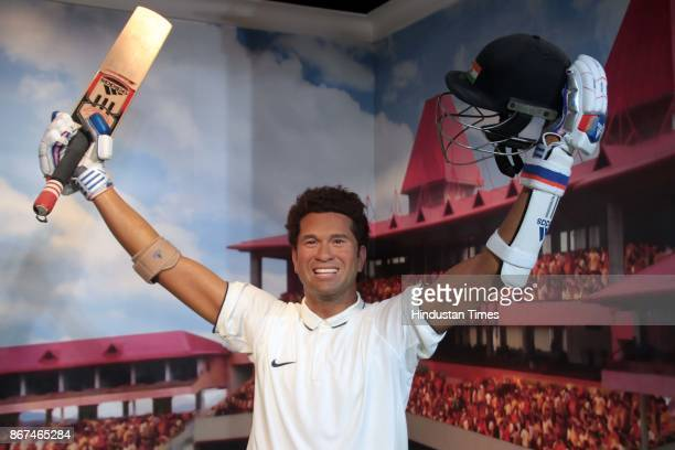 A wax figure of Indian Cricketer Sachin Tendulkar displayed at Madame Tussauds Wax Museum at Connaught Place on October 24 2017 in New Delhi Located...