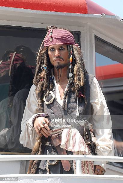 A wax figure of Jack Sparrow Johnny Depp's character from the movie Pirates of the Caribbean Dead Man's Chest stands on display on a Circle Line ship...
