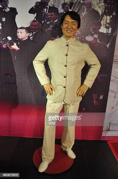 A wax figure of Jackie Chan is unveiled at Guidu Century Plaza on December 24 2014 in Taiyuan Shanxi province of China Wax figures of celebrities as...