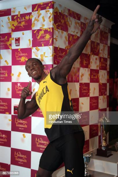 A wax figure of Jamaican sprinter Usain Bolt displayed at Madame Tussauds Wax Museum at Connaught Place on October 24 2017 in New Delhi Located in...