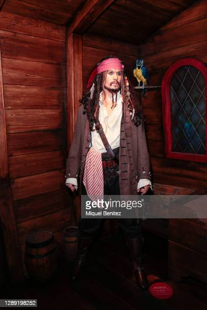Wax figure of Johnny Depp as character of Jack Sparrow is seen during the inauguration of the remodeled Wax Museum on December 03, 2020 in Barcelona,...