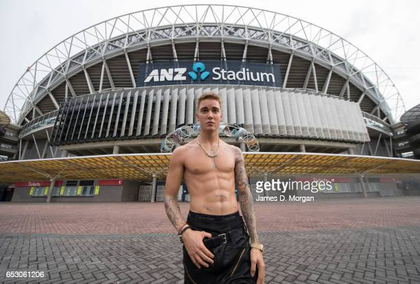 A wax figure of Justin Bieber is seen at ANZ Stadium on March 14 2017 in Sydney Australia The wax figure from Madame Tussauds Sydney was placed...
