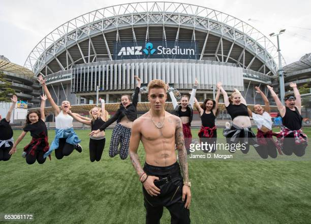 A wax figure of Justin Bieber is seen at ANZ Stadium with local hiphop dance talent 'Kinetic Dance Force' on March 14 2017 in Sydney Australia The...