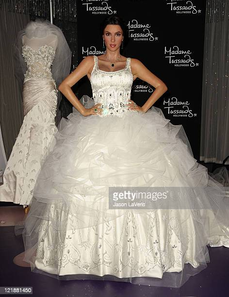 A wax figure of Kim Kardashian in a wedding dress is unveiled at Madame Tussauds Hollywood on August 18 2011 in Hollywood California