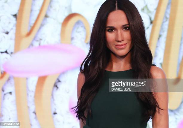 A wax figure of Meghan Markle the US fiancee of Britain's Prince Harry is pictured during a photocall at Madame Tussauds in central London on May 9...
