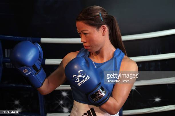 A wax figure of Olympic Indian boxer Mary Kom displayed at Madame Tussauds Wax Museum at Connaught Place on October 24 2017 in New Delhi Located in...