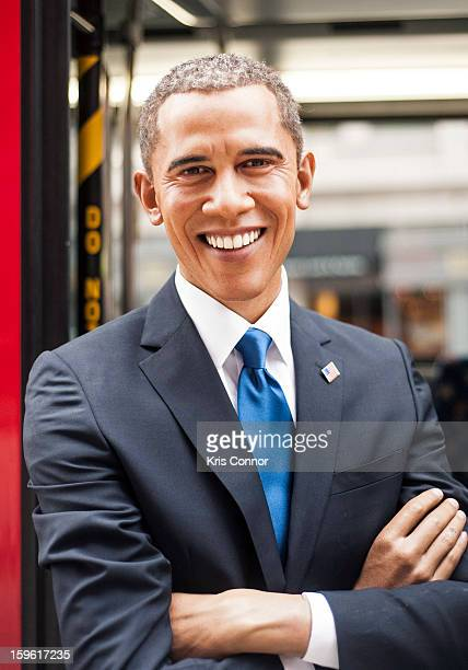 Wax figure of President Barack Obama during Madame Tussauds DC Presidential Wax Figures Bus Tour on January 17 2013 in Washington United States