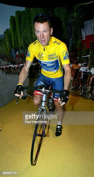 A wax figure of seventime Tour de France winner Lance Armstrong stands on display in Madame Tussauds' Lance Armstrong Experience August 5 2005 in New...