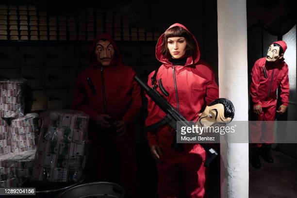 Wax figure of Spanish actress Ursula Corbero as character of La Casa de Papel is seen during the inauguration of the remodeled Wax Museum on December...