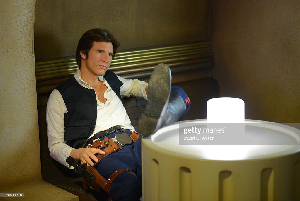 A wax figure of Star Wars character Han Solo on display at 'Star Wars At Madame Tussauds' on May 12, 2015 in London, England.