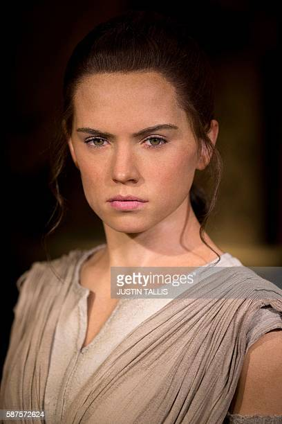 A wax figure of Star Wars character 'Rey' played by British actress Daisy Ridley is pictured during a photocall at Madame Tussauds in central London...