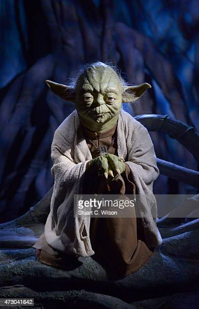 A wax figure of Star Wars character Yoda on display at 'Star Wars At Madame Tussauds' on May 12 2015 in London England