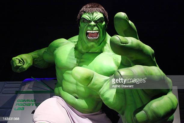 Wax figure of The Hulk appears at the Madame Tussauds New York's Interactive Marvel Super Hero Experience at Madame Tussauds on April 26 2012 in New...