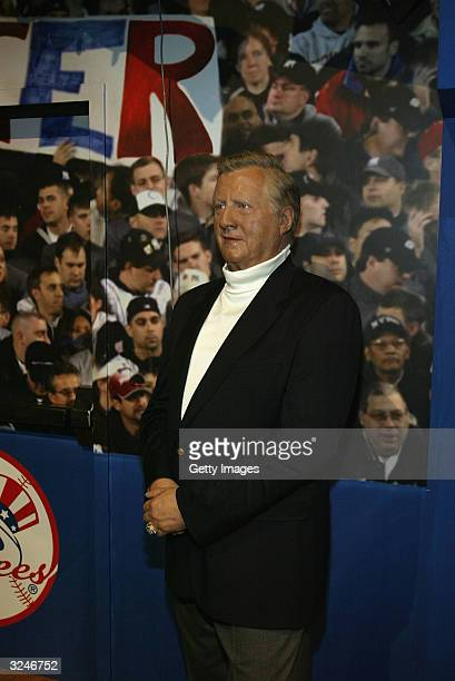 A wax figure of Yankee owner George Steinbrenner is seen at the launch of a new interactive experience featuring a figure of baseball player Derek...