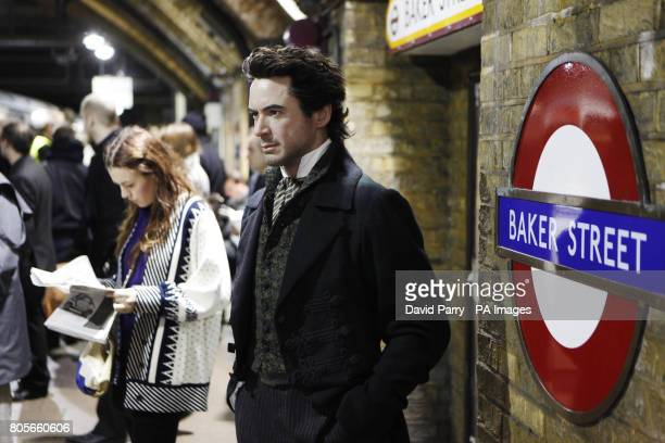 Wax figure portraying Robert Downey Jr in his latest role as Sherlock Holmes from Warner Bros' new film Sherlock Holmes, stands on the platform at...