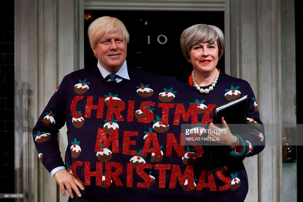 Wax figures depicting Foreign Secretary Boris Johnson and Prime Minister Theresa May at Madame Tussauds in London