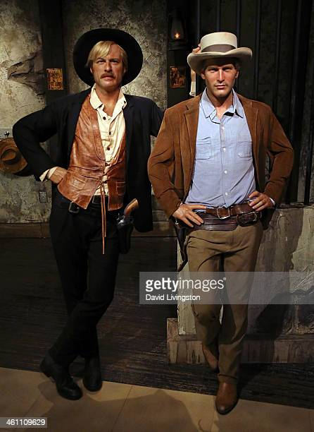 Wax figures of actors Robert Redford and Paul Newman are displayed at Madame Tussauds on January 6 2014 in Hollywood California