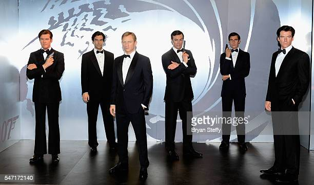 Wax figures of all six actors who played the character James Bond Roger Moore Timothy Dalton Daniel Craig Sir Sean Connery George Lazenby and Pierce...