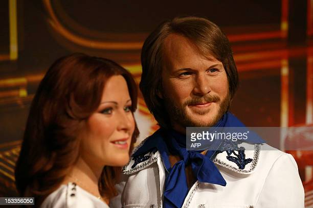 Wax figures of AnniFrid Lyngstad and Benny Andersson from Swedish pop group Abba are displayed in the attractions interactive Music Zone at Madame...