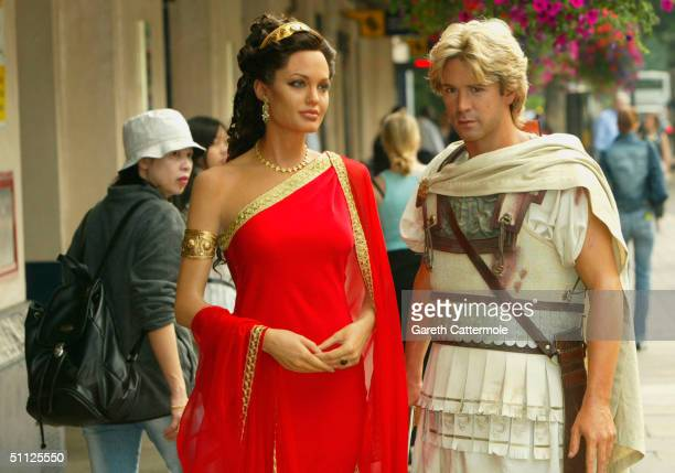Wax figures of Colin Farrell as Alexander The Great and Angelina Jolie as Olympias are unveiled as part of a new 'Warriors' combat arena at Madame...