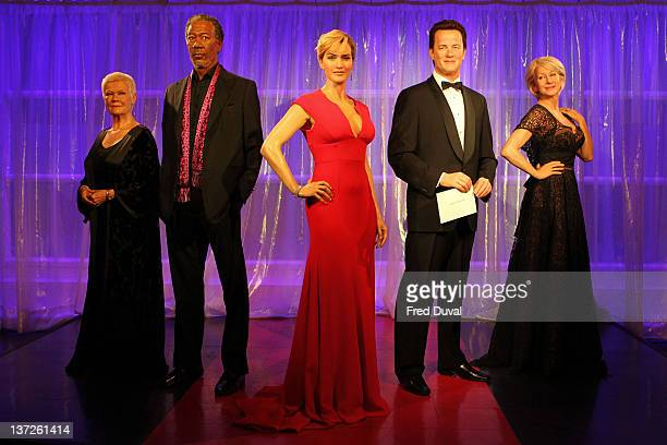 Wax figures of Hollywood actors Dame Judi Dench Morgan Freeman Dame Kate Winslet Tom Hanks and Dame Helen Mirren on display for the Waxworks Award...