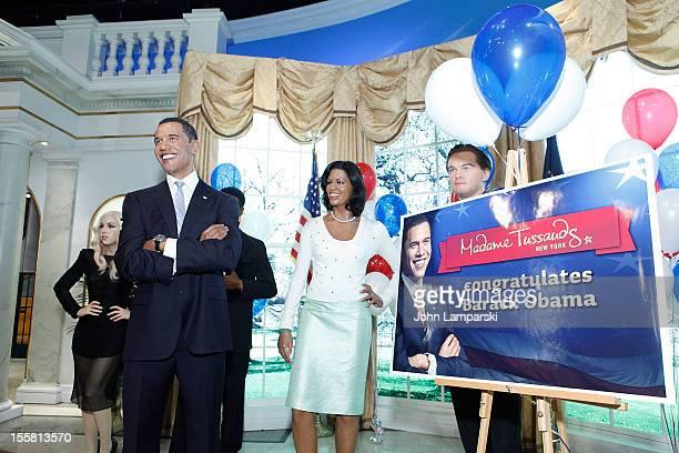 Wax figures of Lady Gaga Denzel Washington US President Barack Obama First Lady Mjichelle Obama and Leonardo DiCaprio are displayed as Madame...