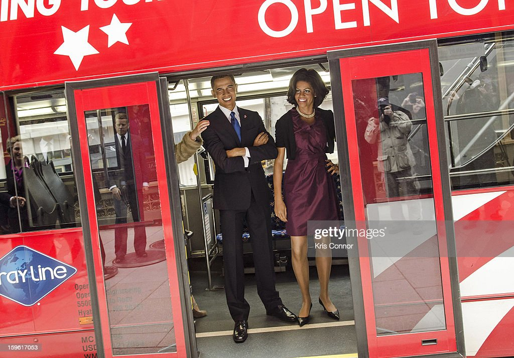 Wax figures of President Barack Obama and first lady Michelle Obama arrive at Madame Tussauds during Madame Tussauds DC Presidential Wax Figures Bus Tour Madame Tussauds DC Presidential Wax Figures Bus Tour on January 17, 2013 in Washington, United States.