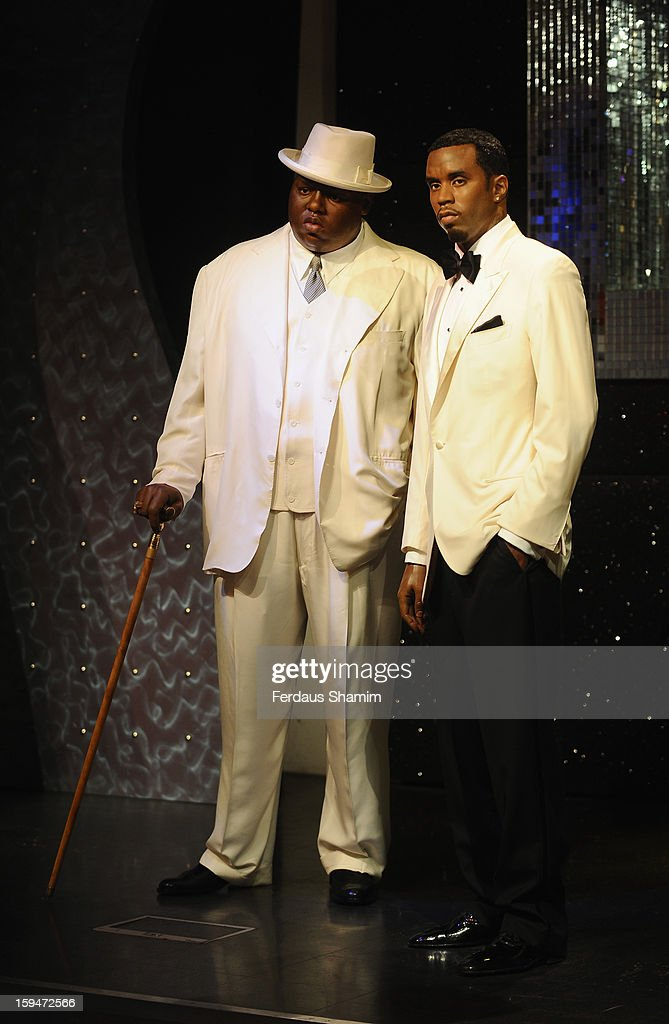 Wax figures of rap stars Biggie Smalls (aka The Notorious BIG) (L) and P Diddy are exhibited for the first time together in London at Madame Tussauds on January 14, 2013 in London, England.