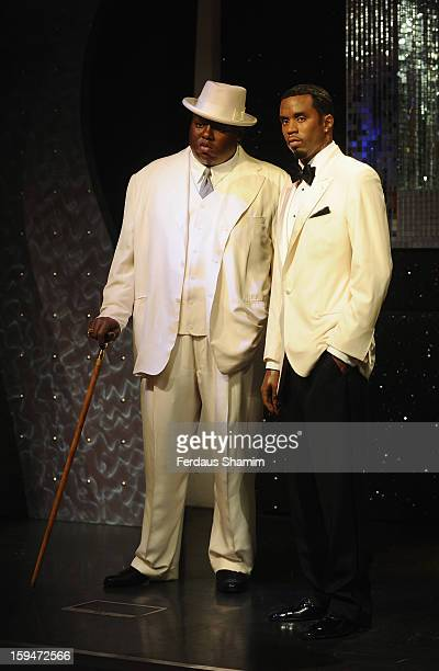 Wax figures of rap stars Biggie Smalls and P Diddy are exhibited for the first time together in London at Madame Tussauds on January 14 2013 in...