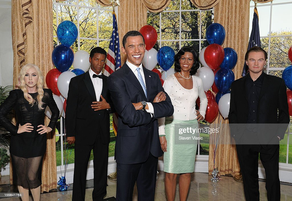 Wax figures of singer Lady Gaga, actor Denzel Washington, U.S. President Barack Obama, First Lady Michelle Obama and actor Leonardo DiCaprio are displayed as Madame Tussauds New York Celebrates President Barack Obama Reelection at Madame Tussauds on November 8, 2012 in New York City.