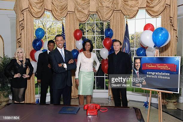 Wax figures of singer Lady Gaga actor Denzel Washington US President Barack Obama First Lady Michelle Obama and actor Leonardo DiCaprio are displayed...