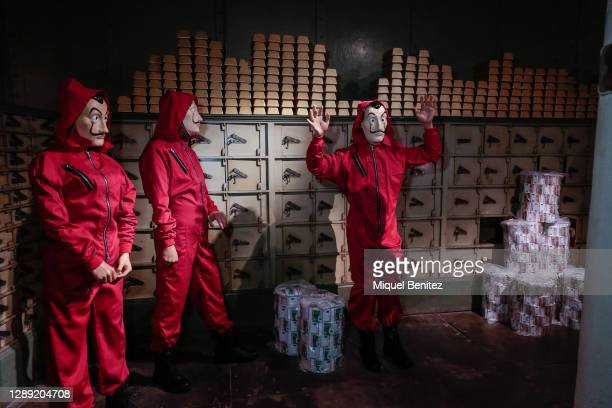 Wax figures of the Spanish tv serie 'La Casa de Papel' are seen during the inauguration of the remodeled Wax Museum on December 03, 2020 in...