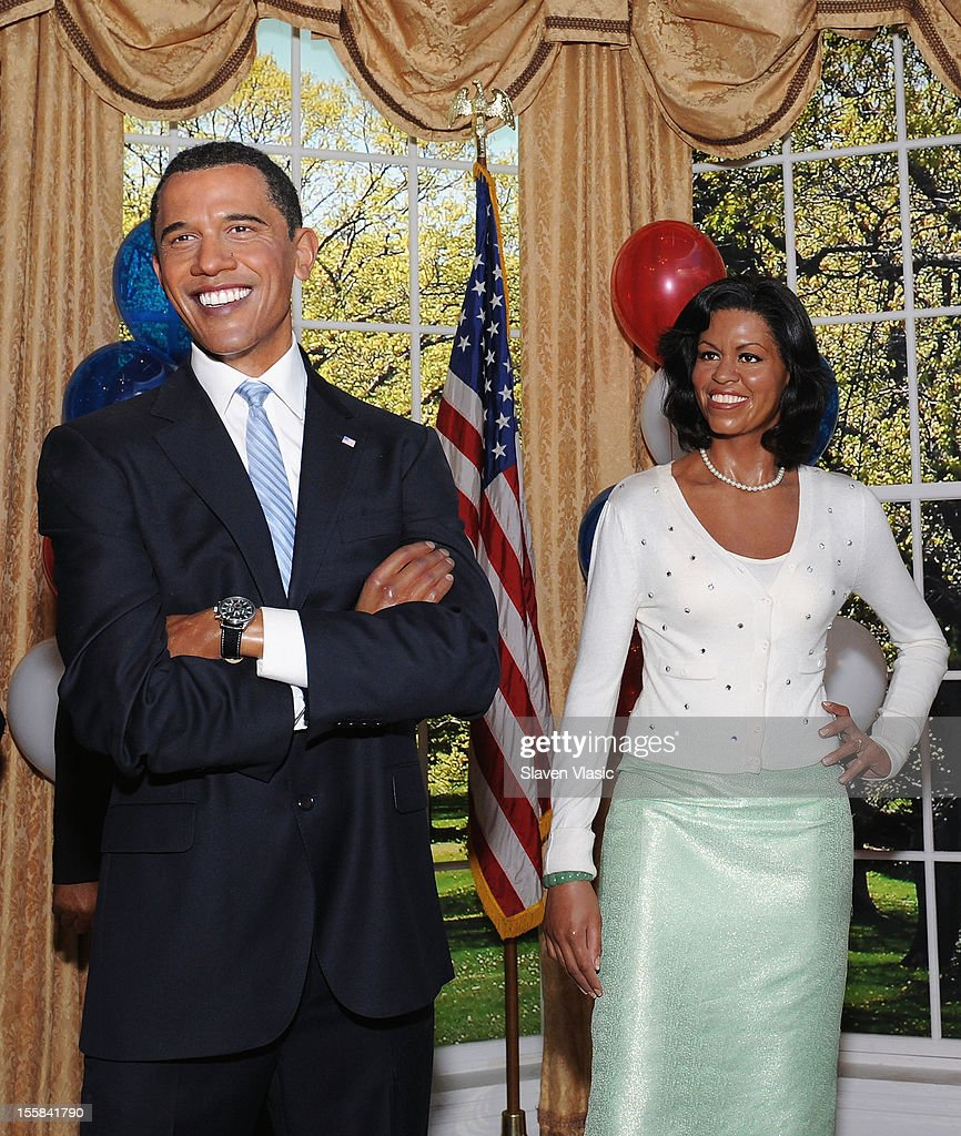 Wax figures of U.S. President Barack Obama and First Lady Michelle Obama are displayed as Madame Tussauds New York Celebrates President Barack Obama Reelection at Madame Tussauds on November 8, 2012 in New York City.