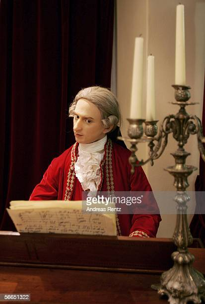 A wax imitation of Wolfgang Amadeus Mozart playing the piano seen on January 23 2006 in Salzburg Austria Salzburg celebrates the 250th anniversary of...
