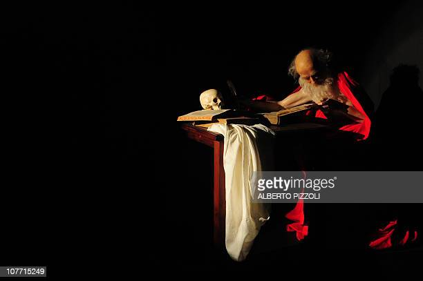"A wax reconstruction of one of Caravaggio's painting is seen at the experimental exhibition ""Caravaggio La Bottega del Genio"" in Rome on December 21..."