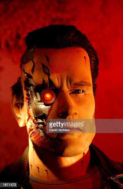 A wax replica of actor Arnold Schwarzenegger in the film Terminator 2 Judgement Day is on display at the Hollywood Wax Museum August 28 2001 in...