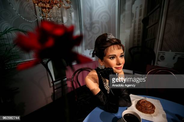 A wax sculpture of famous actress Audrey Hepburn is displayed at Madame Tussauds Wax Sculpture Museum at Grand Pera in Istanbul Turkey on May 26 2018