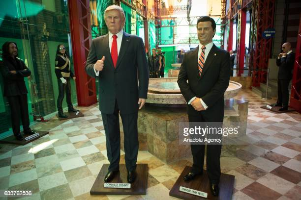 Wax sculptures of US President Donald Trump and Mexican President Enrique Pena Nieto are seen at the Wax Museum in Mexico City Mexico on February 03...