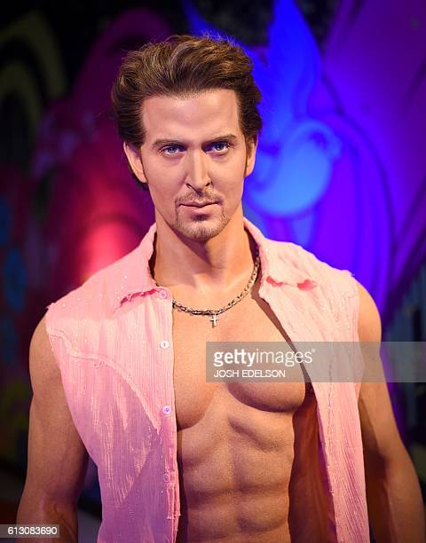 A wax statue of Hrithik Roshan is seen at Madame Tussauds wax museum in San Francisco California on October 6 2016 The museum revealed a Bollywood...