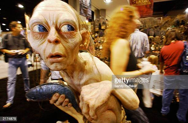A wax version of Gollum from The Lord of the Rings sits on display at the ComicCon International Convention being held at the San Diego Convention...