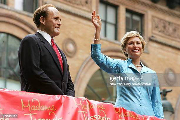 Wax versions of presidential candidates Rudolph Giuliani and Hillary Rodham Clinton are posed atop a doubledecker sightseeing bus on Fifth Ave near...