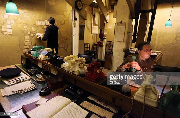 Wax work models are positioned in The Map Room in Cabinet War Rooms bunker, which has been preserved entirely unchanged since the second World War,...